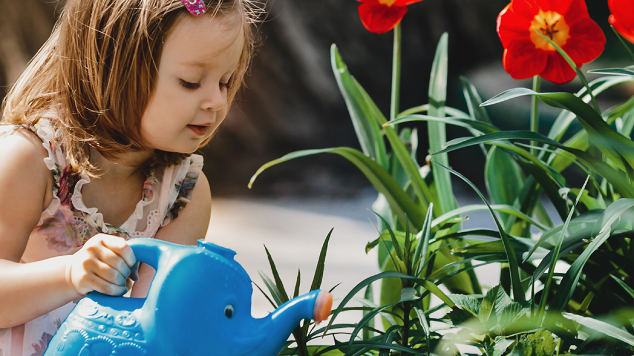 Charming little girl takes care about flowers in the garden