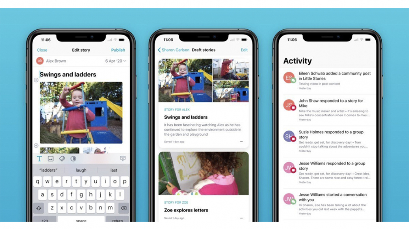 Storypark app on mobile view