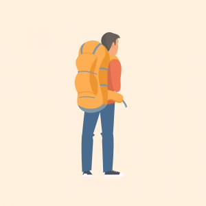 Illustration of man with backpack