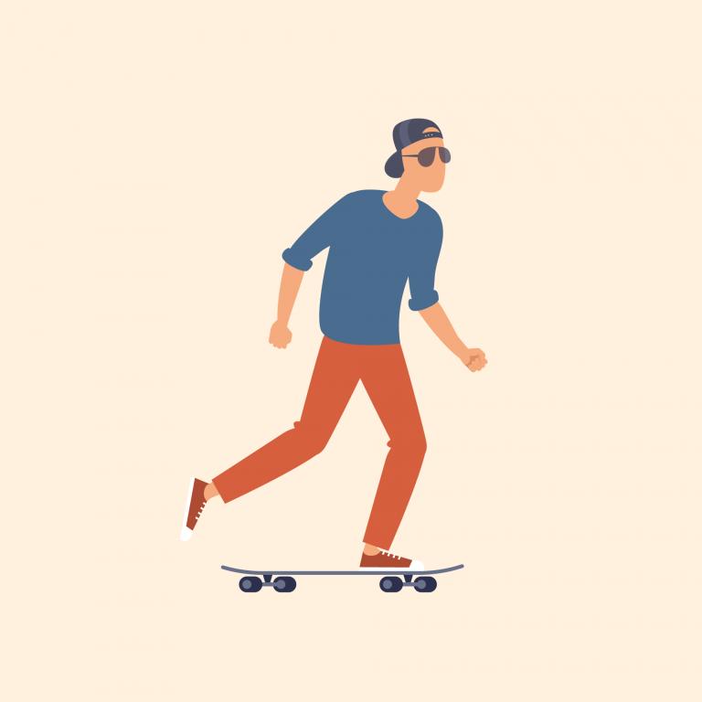Illustration of man on skateboard