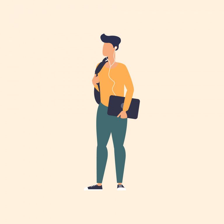 Illustration of man with laptop under arm