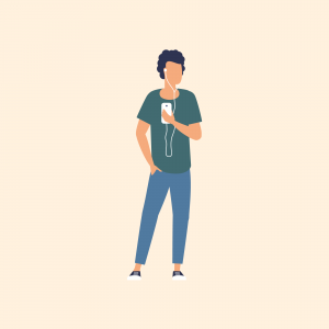 Illustration of man with mobile