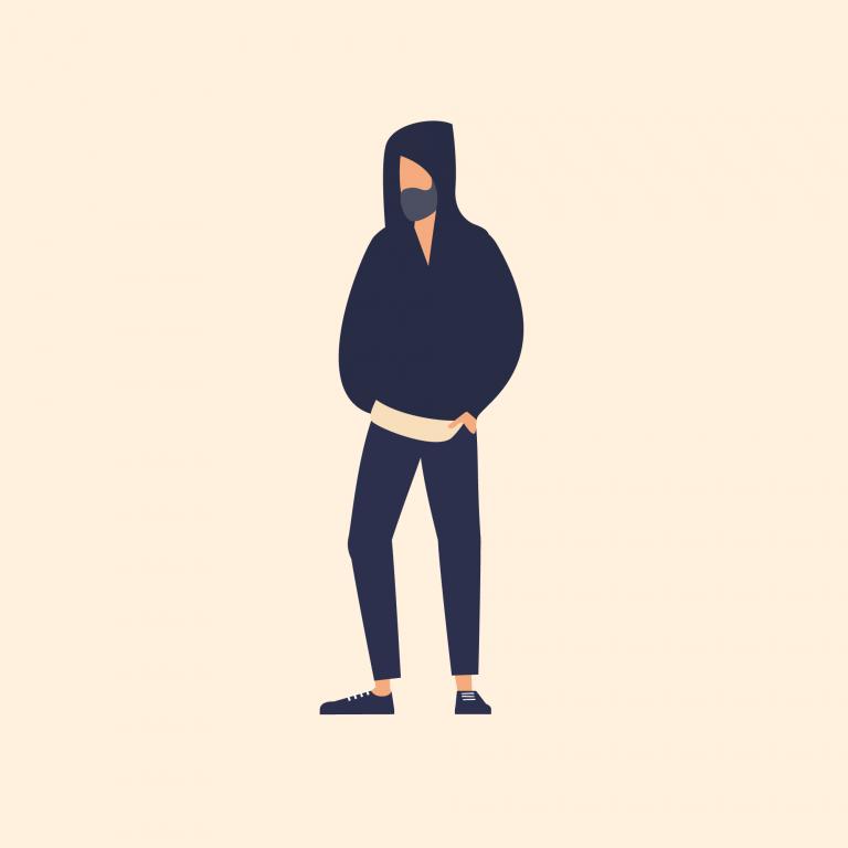 Illustration of man wearing hooded jumper