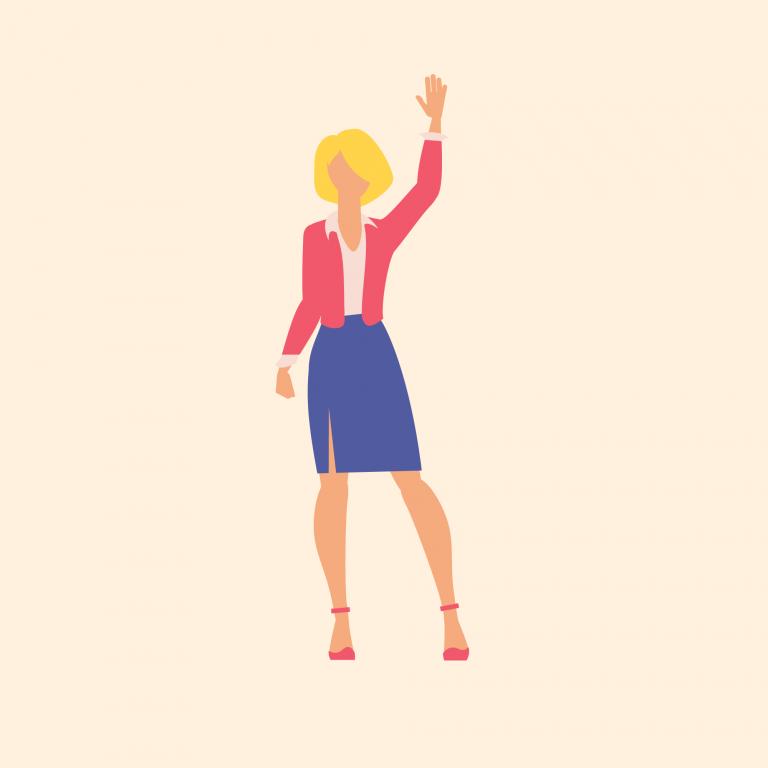 Illustration of blonde woman waving