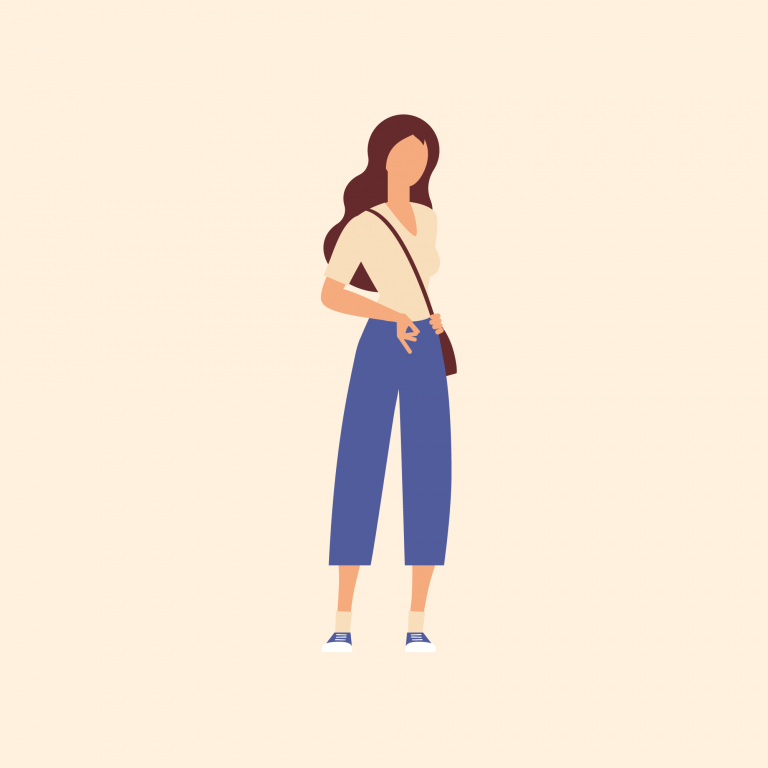 Illustration of woman with bag over shoulder