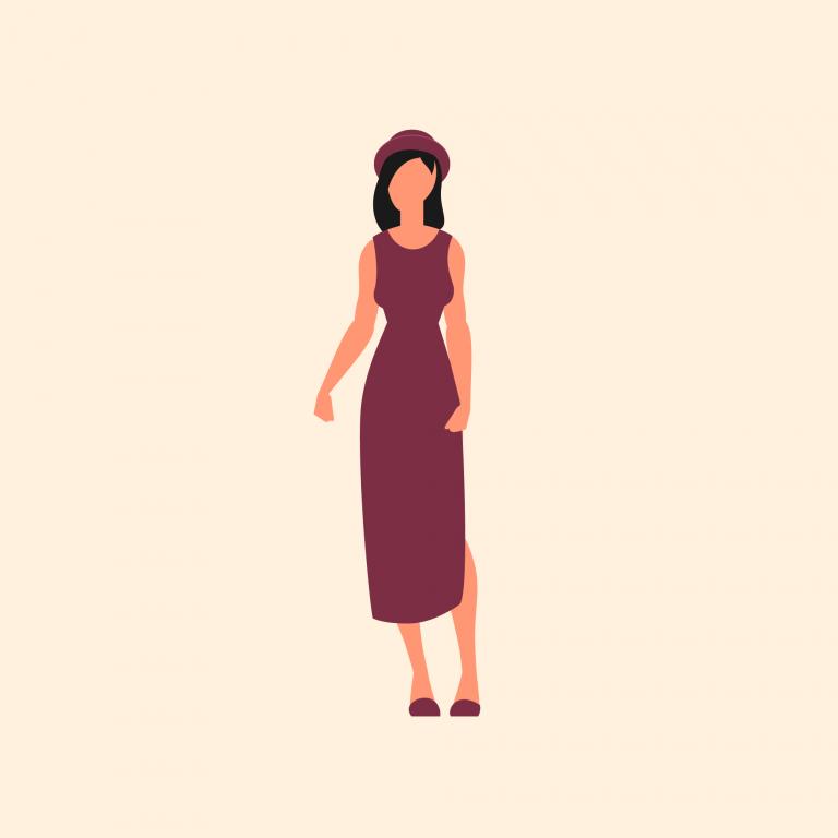 Illustration of woman wearing hat