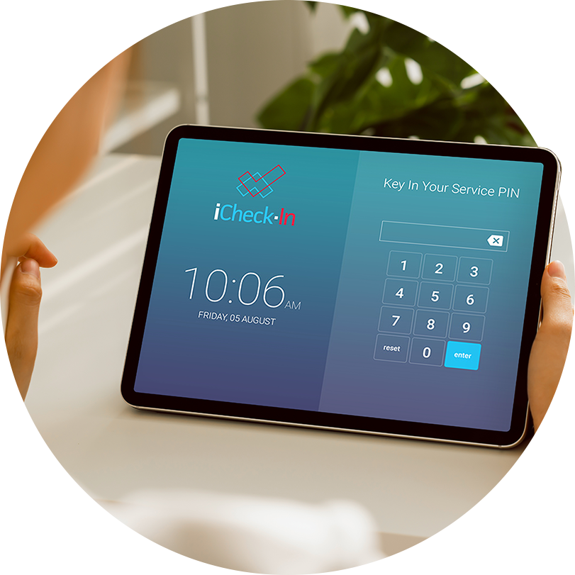 Kidsoft iCheck-In Screen on tablet